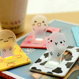 Sale Christmas Cards Canada - Hot Sale !Super Cute Card Night Light Smiley Mini LED Card Light Portable Pocket Credit Card Novelty Christmas Kids Gift