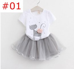 Wholesale New Summer Fashion Style Cartoon Cat Kitten Printed T Shirts Net Veil tutu skirt Dress Girls Clothes Sets colors choose free ship