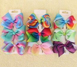rainbow pastel hair NZ - 10pcs jojo Xmas Romantic 9cm Pastel flora ombre Rainbow ribbon hair bows Alligator clips Dance hair bobbles Accessories HD3480