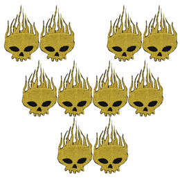 $enCountryForm.capitalKeyWord UK - 10PCS gold skull embroidery patches for clothing iron patch for clothes applique sewing accessories stickers badge on cloth iron on patches