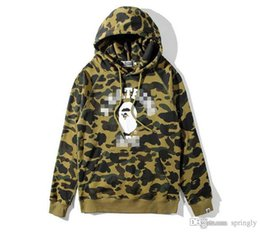 Suéteres Japón Baratos-2017 Hot Men's Japan Version Cotton A Bathing A Ape Camo Shark Jaw Bapes sudadera con capucha