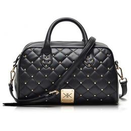 Kim Kardashian fashion style online shopping - Fashion high quality leather handbags kim Kardashian plaid rivet shoulder bag famous brand handbag women messenger bags work bag