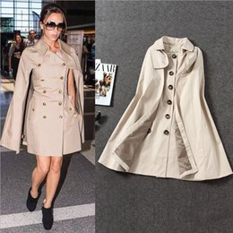 Barato Casaco De Pêlo Duplo-New Design 2016 Britânico Turn Down Collar Double Breasted Cape Efeito Trench Coat com fenda
