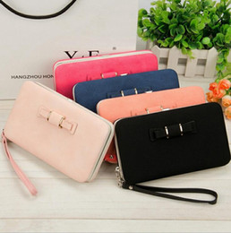 Coin purses women online shopping - Bow Tie Long PU Wallet Colors Coin Purse Candy Color Women Card Holders Phone Wallet OOA3008