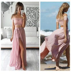 Short Strapless White Silver Dress NZ - Stunning Pink Prom Dresses Two Pieces Strapless Zipper Back Short Sleeves Side Split Chiffon Skirt Party Dress