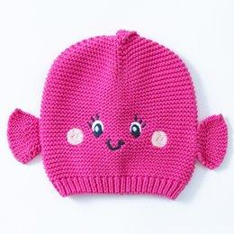 $enCountryForm.capitalKeyWord Australia - Wholesale 2016 Rose Baby Fish Hat Cotton Embroidery Crochet Baby Beanies Kids Fall Winter Baby Cap Handmade Knit Windproof Earmuffs Cap