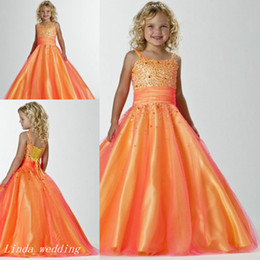 Jeunes Filles Habillées Princesses Pas Cher-Pageant robe princesse boule GownTulle perlé Party Cupcake Jeune Orange Fille Pretty Little Wedding Kid Flower Girl Dress