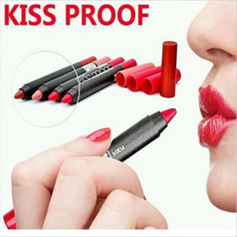 $enCountryForm.capitalKeyWord Australia - Kiss Proof Matte Lipstick Lip Pencils Makeup M.N Menow Nonstick Cup Lip Pen Kissproof Lip Stick Long Lasting Cosmetics Brand 19 Colors