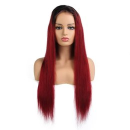 Chinese  Full Lace Wig Silky Straight 130% Density Ombre 1B RED Color Human Hair Wig with Baby Hair Remy Hair Free Shipping manufacturers