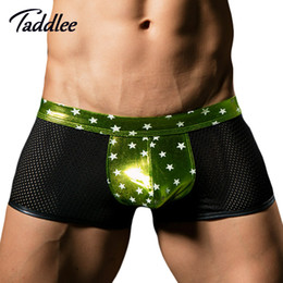 Sous-vêtement Gay Masculin Pas Cher-Grossiste-Sexy Hommes Sous-vêtements Boxer Shorts Trunks Gay Pénis Pouch WJ Men's Sheer Voir à travers Boxers Mesh Slips Bikini Boxers Low