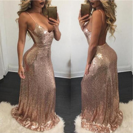 Discount microfiber dresses - Backless Spaghetti-Strap Sexy Mermaid Evening Dresses Rose Gold Sequins Prom Dresses Open Back Pageant Gowns Custom 2018