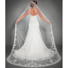 Barato Véu Sem Pente-Hot Sale 2017 Wedding Veil Lace Chapel Train acessórios de casamento White Ivory 3 M Longo Voile Voile Marriage Bridal <b>Veil Without Comb</b>