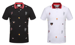 floral polo UK - 2018 Brand New Luxury designer Novelty Fashion Casual men polo t shirts embroidery snake bee High street mens polos