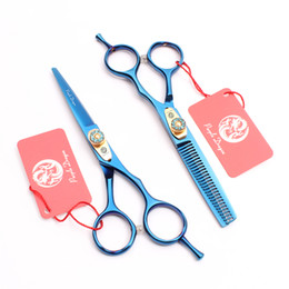 "$enCountryForm.capitalKeyWord Australia - Z1020 6"" Purple Dragon Laser Wire Blue High Quality Professional Human Hair Scissors Barbers' Scissors Cutting Thinning Scissors Style Tools"