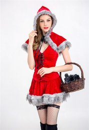 Robes Sexy En Résille Rouge Pas Cher-Femmes Ladies Little Red Riding Hood Costume Party Cosplay Fancy Dress with Fishnet Stockings Fairytale Halloween Christmas Sexy Role Play