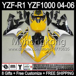 Discount yamaha r1 body kit black - 8Gifts+Body For YAMAHA YZF-R1 04-06 YZF R1 MY47 Yellow black YZF1000 YZFR1 04 05 06 YZF 1000 YZF R 1 2004 2005 2006 Yell