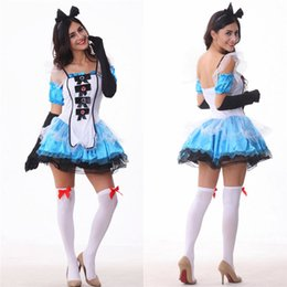 Barato Trajes Sexy De Alice-Alice In Wonderland Dress Fantasia Blue Maid Fato Adulto Fada Tale Costume Halloween Cosplay Sexy Skirt Headdress With Gloves