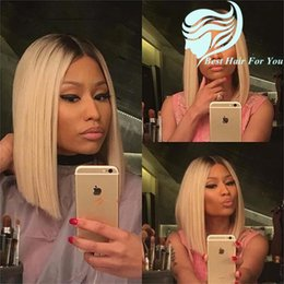 Discount straight blonde wig roots - two tone 1BT#613 blonde dark root ombre full lace wig two tone color ombre brazilian human hair straight bob lace front