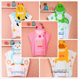 pink robes wholesale Canada - Baby Hooded Swaddle Large Towels Cute Baby Boy Bath Ropes Cartoon Animals Head Owl Dinosaur Bee Robes Baby Girl Angel Bath Rope