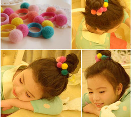 Wholesale Korea imports all handmade wool felt ball hair ring hair rope hair accessories for women girl children ZA0079