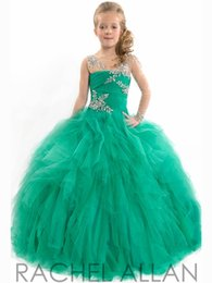 Robe Courte Petite Fille Pas Cher-Beauté Sheer Tulle Une épaule perlée Pageant Robes de la petite fille 2016 Ruffled-parole longueur couches froncé Junior robes sur mesure