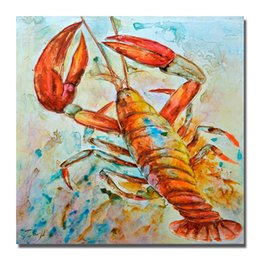 hand painting designs NZ - Free shipping wild animal realistic design lobster oil painting on canvas art picture large size cheap hand made canvas wall art