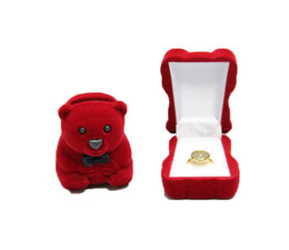 red jewelry for wedding UK - Velvet Ring Box, animal design bear shape, Velveteen Rings Jewelry Display Box red colors for choice wedding gift for girls