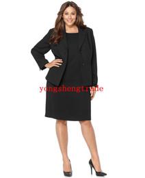 Wool Dress Jackets Canada - Plus Size Notched Collar Jacket & Sleeveless Sheath Dress Custom Made Suit Custom Made Black Woman Suit (Jacket+Dress) HS7957