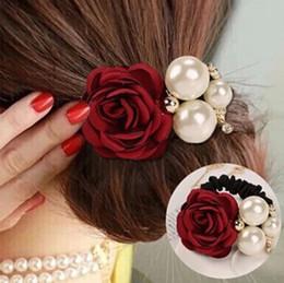 Hair Camellia Canada - fashion NEW Pearl ring high elastic hair rope Korea Camellia Flower Rhinestone Tiara Tousheng headdress flower Hair accessories