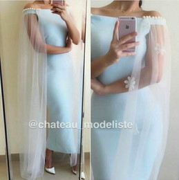 dress cloaks Australia - 2016 Newest Light Sky Blue Satin Sheath Evening Dress with Long Cloak Sexy Off Shoulder Pearl Cap Sleeve Ankle Length Prom Party Dress