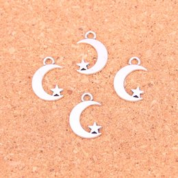 $enCountryForm.capitalKeyWord Australia - 250pcs Antique Silver Plated moon star Charms Pendants for European Bracelet Jewelry Making DIY Handmade 17*11mm