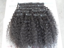 Clip Hair Black Australia - new Brazilian kinky curly hair weft clip in hair extensions unprocessed curly natural black color human extensions can be dyed
