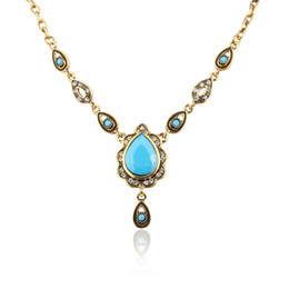 Water crystals for plants online shopping - Yunkingdom Ethnic Turkish Style Necklaces For Women Vintage Gold Color Water Drop Resin Pendant Necklace Women Jewelry Wholes
