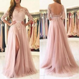 Vestido De Manga Larga Rosa Formal Baratos-Elegante 2017 Blush Pink Lace Sheer Neck vestidos de baile de manga larga Tulle largo Side Split Buttons Back Formal formal vestidos de fiesta para la noche
