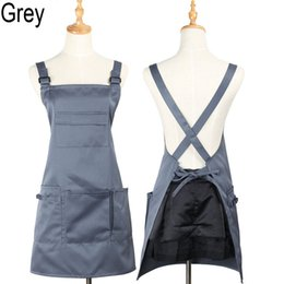 apron beauty Canada - factory price mulit color high quality cotton Adjustable pockets stylists work apron beauty hairdresser nail apron can do logo