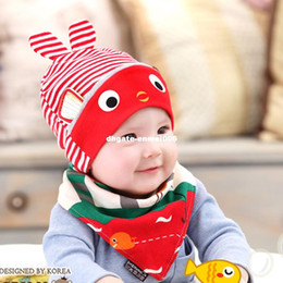 Baby Girl Crochet Patterns NZ - 2Pcs Baby Hat Triangle Scarf Bibs Set Character Rabbit Pattern Hats Spring Autumn Cartoon Cotton Baby Caps Baby Boy Girl Bonnet
