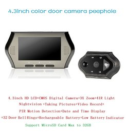 $enCountryForm.capitalKeyWord NZ - New wireless door bell 4.3inch LCD 0.3Megapixels camera IR night vision PIR Motion Detection 32 Rings 3X Zoom doorbell Max 32G
