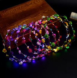 Fleurs De Couronne De Mariée Pour Mariage Pas Cher-Party Crown Flower Headband LED Light Up Hair Wreath Hairband Garlands Boho Bohemian Flower Garland Bride Mariage Floral Headband KKA2687
