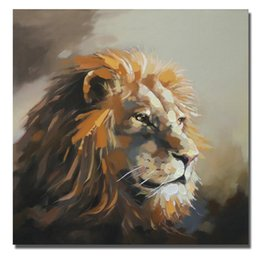 canvas oil lion Canada - Lion Art Painting for Living Room Wall Hand Painted Oil Painting Home Decor Wall Pictures Modern Canvas Art Animal Painting No Framed