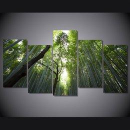 5 Pz / set Incorniciato Stampato foresta di bambù paesaggio Dipinto Su Tela di Stampa room decor manifesto stampa foto su tela Trasporto libero / ny-4514 in Offerta