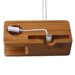 bamboo stands 2019 - Wholesale-2016 Natural Bamboo Wood Charge Station Charging Dock Cradle Stand Holders for I Watch Iphone discount bamboo