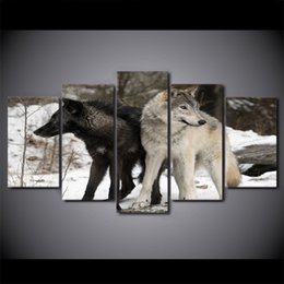 oil paintings snow landscape Canada - 5 Panel HD Printed Framed Black and White Snow Wolf Wall Canvas Art Modern Oil Painting Poster Picture For Home Decor