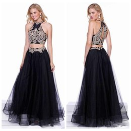 Barato Black Skirt Dress Venda-2017 preto de duas peças do laço apliques Top Vestidos Prom Pavimento Length Tulle saia Formal Baile Vestidos De Soiree Venda baratos Evening Wear