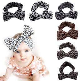 Leopard Ears Headband Canada - 2016 European Vintage Leopard Print Headbands bow Stretch Cotton baby girls headband rabbit ears headwear Children's Hair Accessories B111