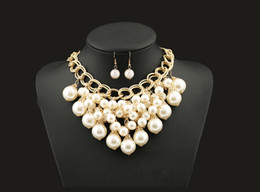 $enCountryForm.capitalKeyWord NZ - 2pcs set Fashion Jewelry Sets White Imitation Pearl Necklace Earrings Women Gold Plated Metal Chain Brand New Accessories