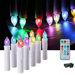 flameless flickering candles remote Canada - 10pcs Flameless Taper Candles LED Flickering Electric Tealight Battery Powered Remote Candle Light with Timer Clip for Party Wedding