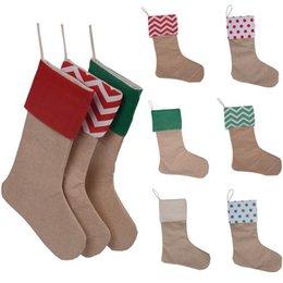 Vente en gros 12 * 18 pouces haute qualité 2017 toile De Noël bas cadeau sacs en toile De Noël Xie checvron bas chaussettes décoratives sac
