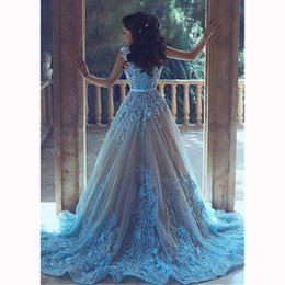 Discount plus size prom dresses princess Luxury 3D-Appliques Ball Gown Evening Dresses Princess Muslim Prom Dresses With Red Carpet Blue Party Dresses Custom Made Evening Gowns