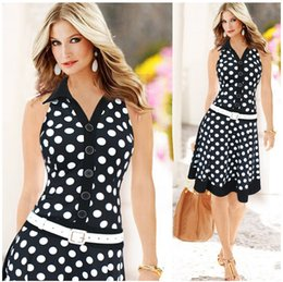 Robes Polka Filles Sexy Pas Cher-2016 Summer Fashion Polka Dot Print Dress Girls Sexy Casual sans manches, même une longue robe A-Line Fashion Luxury Elegant Dress for Womens