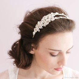 Vendas De La Boda Baratos-Tiny Bead Leaves Double Headband Hair Broche Nupcial Headpiece Beaded Wedding Headpiece Accesorios para la novia Accesorios para el cabello Headpieces